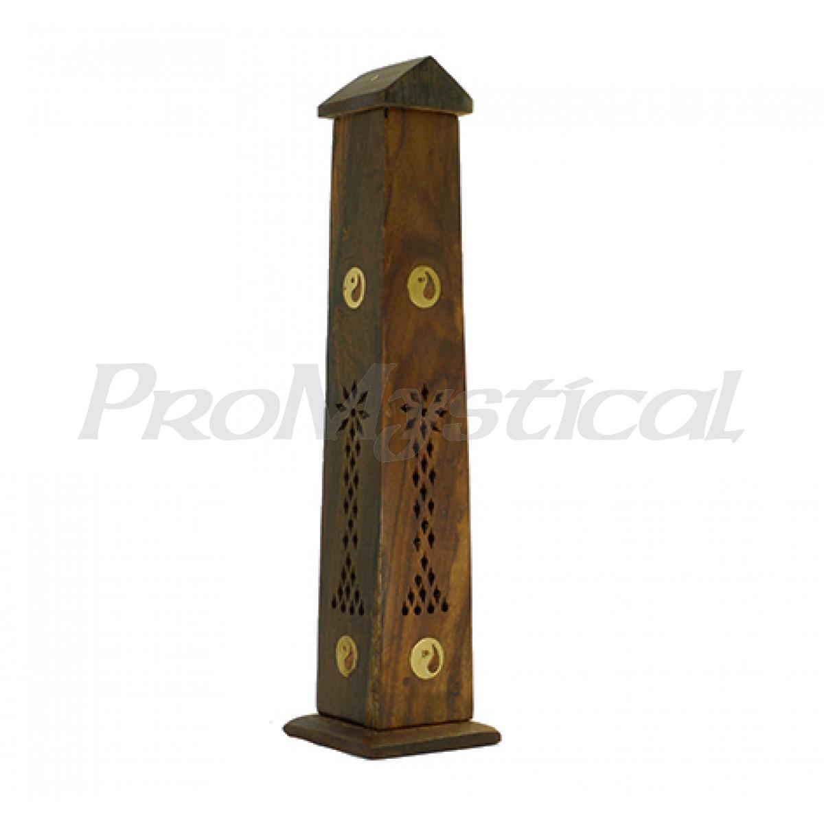 2921cc56379 Quemador Porta Incienso Torre Madera India - Ying Yang